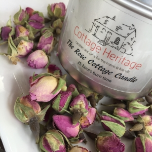 rose cotttage candles with roses